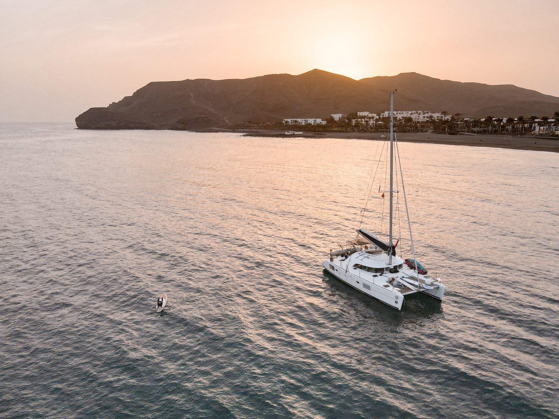 sunset on a catamaran